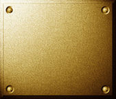 Golden plate with screws — Stock Photo