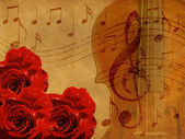 Music roses and violin background — Stock Photo