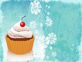 Cartão retro com cupcake — Fotografia Stock