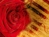 Vintage background with red rose and notes — Stock Photo