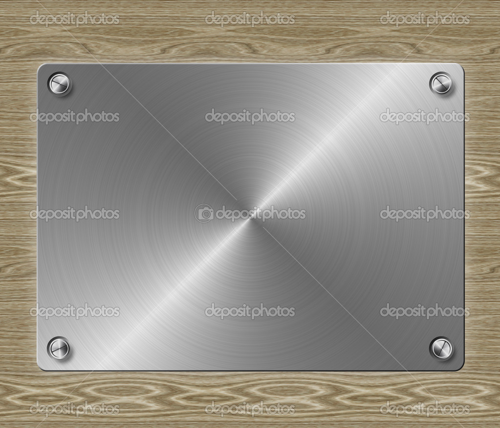 Abstract metal plate on wood background template.  Stock Photo #13611096