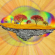 Stock Photo: Abstract floating island with autumn trees