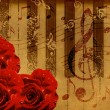 Music roses and piano background — Stock Photo