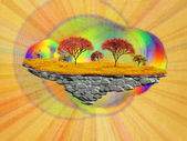 Abstract floating island with autumn trees — Stock Photo