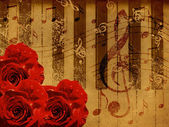 Music roses and piano background — Zdjęcie stockowe