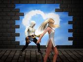Dancing over broken brick wall — Stock Photo