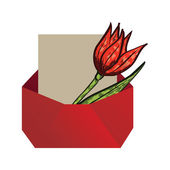 Envelope with tulip — Vetorial Stock