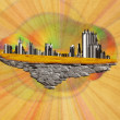 Abstract floating island with city — Stock Photo