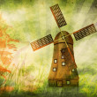 Grunge background with windmill — Stock Photo