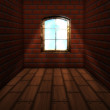 Stock Photo: Room with brick wall with window