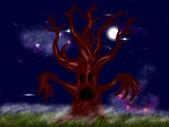 жуткий голых деревьев — Стоковое фото