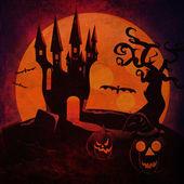 Fondo de grunge de castillo y las calabazas de halloween — Foto de Stock