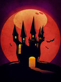 Halloween Castle grunge background — Stock Photo