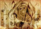 音乐玫瑰背景 — 图库照片