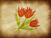 Tulips on vintage paper — Stock Photo