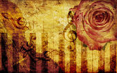Vintage background with rose and notes — Stock Photo