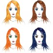 Girls with different hair colors — Stock Vector
