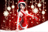 Christmas background with snowflakes and girl — Stock Photo