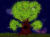 Griezelig boom met bladeren — Stockfoto