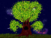 Strašidelný strom s listy — Stock fotografie