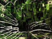 Humanoïde in de groene kamer — Stockfoto