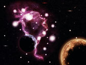 Big pink nebula and planets — Stock Photo