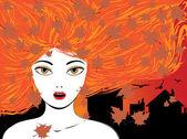 Autumn girl — Stock Vector