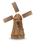 Old wooden windmill — Stock Vector