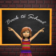 Cartoon girl and chalkboard — Stock Photo