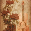 Roses and violin - Foto Stock