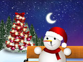 Christmas card with snowman — Foto Stock