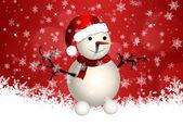 милый снеговик на красном фоне — Стоковое фото