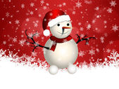 Cute snowman on red background — Stock Photo
