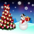 Royalty-Free Stock Photo: Snowman and Christmas tree