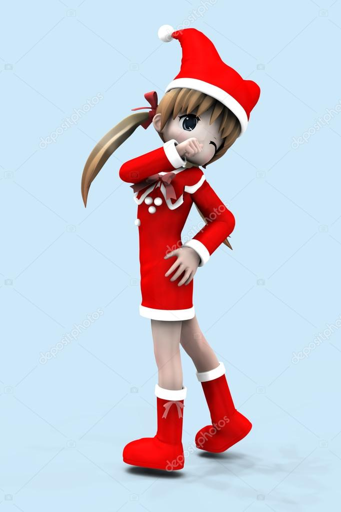 Illustration of anime 3d happy girl in Christmas dress background. — Stock Photo #15358515