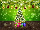 Christmas interior with fir tree — Stock Photo