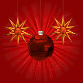 Red ball and stars ornament — Stock Photo