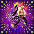 Royalty-Free Stock Photo: Abstract musical background with guitar player