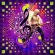 Abstract musical background with guitar player — Stock Photo