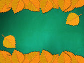 用黄色树叶黑板 — 图库照片