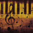 Vintage musical background with piano - Stock Photo