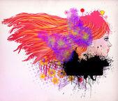 Red haired girl abbildung — Stockfoto
