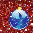 Stock Photo: Blue Christmas ball on sparkle red background