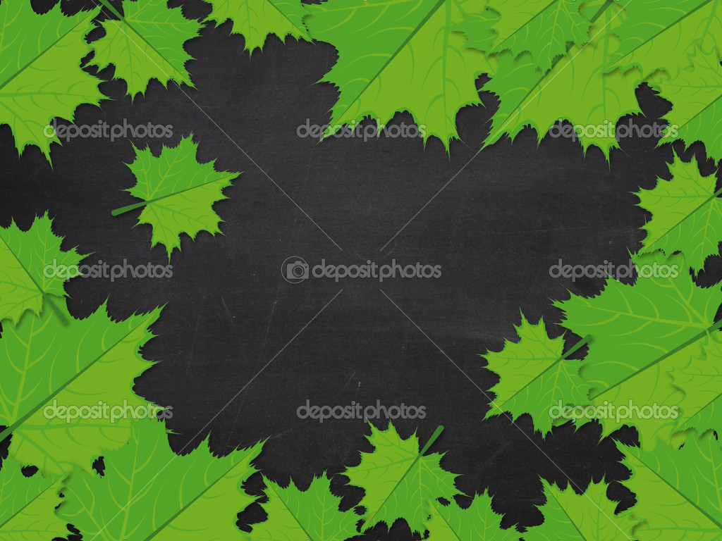 Illustration of green maple leaves on blackboard background. — Stock Photo #16162865