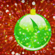 Stock Photo: Green Christmas ball on sparkle background
