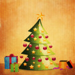 Grunge Christmas tree with gifts — Stock Photo