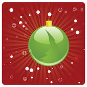 Green Christmas ball on red background — Stockvektor