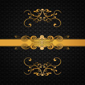 Invitation card with golden floral — Stock Photo