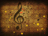 Ročník hudební květinové pozadí — Stock fotografie