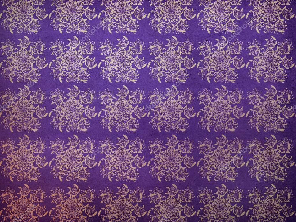抽象复古花纹紫色背景上的插图